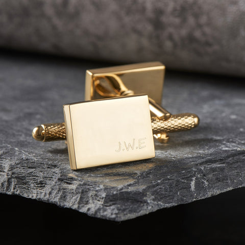 Gold Rectangle Initial Cufflinks
