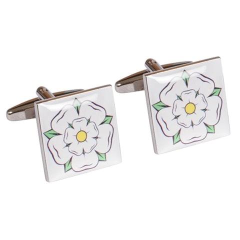White Yorkshire Rose Cufflinks