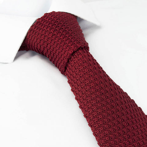 Wine Knitted Square Cut Tie