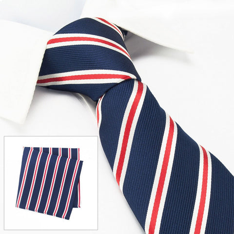 Navy Silk Tie With Red And White Stripes & Handkerchief Set