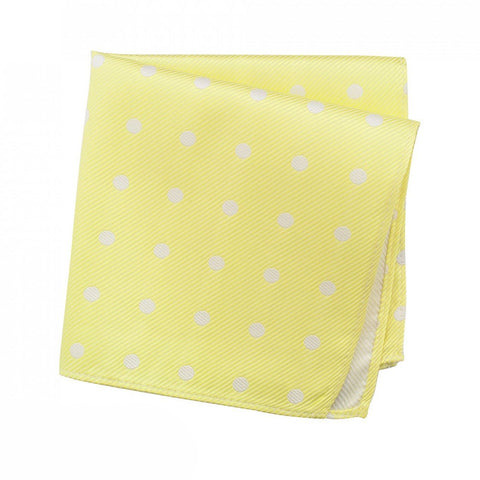Yellow Silk Handkerchief With White Polka Dots