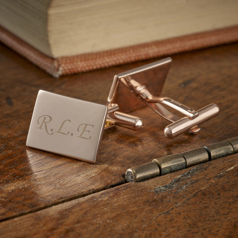 Sterling Silver Rose Gold Rectangle Engraved Cufflinks