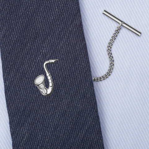 Sterling Silver Saxophone Tie Tack