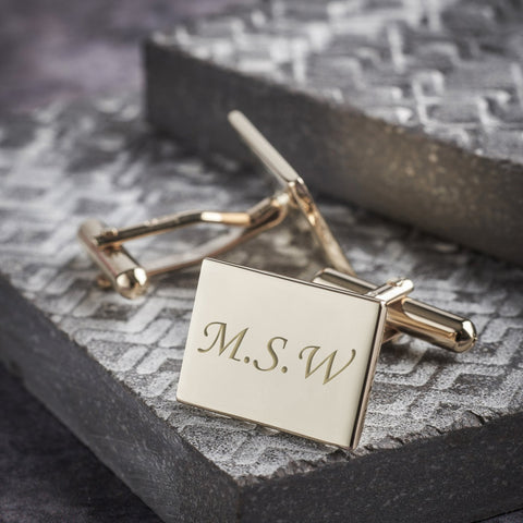 9ct Gold Engraved Solid Rectangle Cufflinks