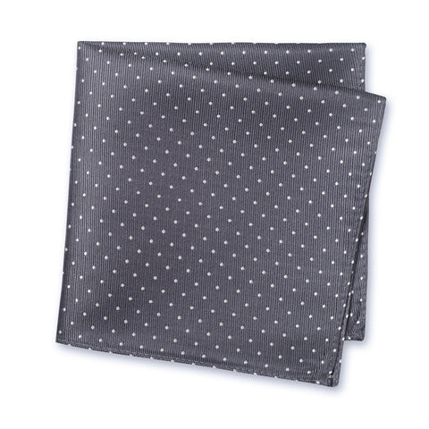 Charcoal Grey Micro Spot Silk Handkerchief