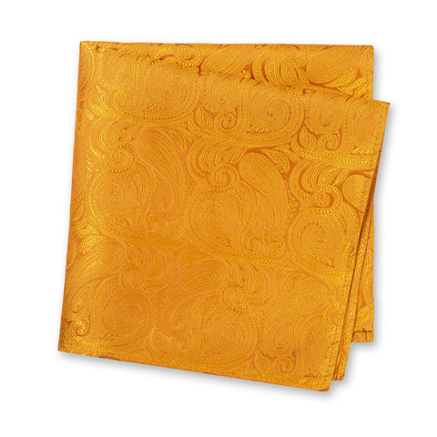Burnt Orange Paisley Woven Silk Handkerchief