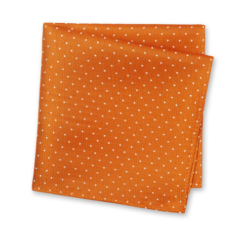 Burnt Orange Micro Spot Silk Handkerchief