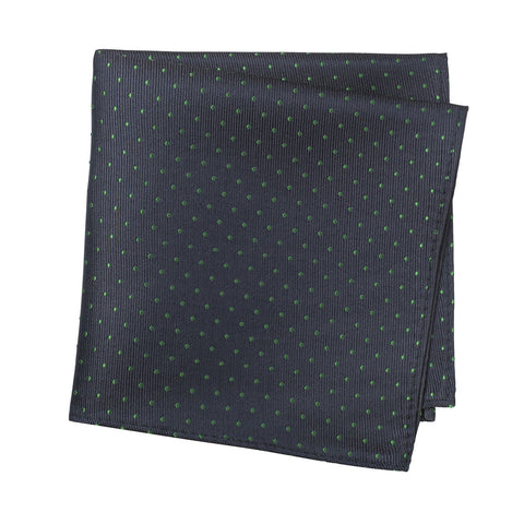 Navy & Green Micro Spot Silk Handkerchief