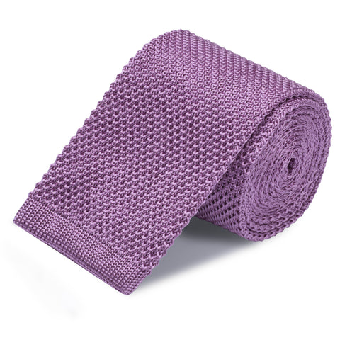 Purple Knitted Square Cut Silk Tie