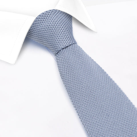 Sky Blue Knitted Square Cut Silk Tie
