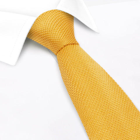Bright Gold Knitted Square Cut Silk Tie