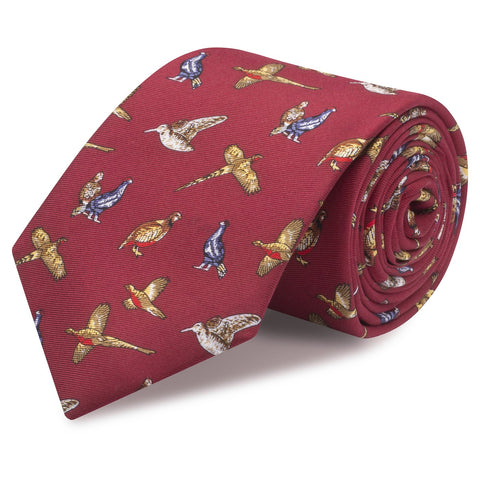 Wine Printed Game Bird Luxury Silk Tie