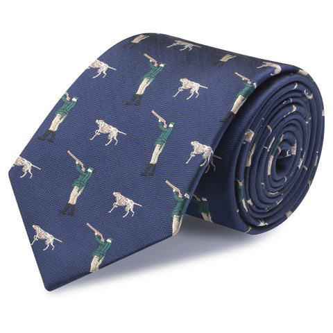 Navy Herringbone Shooting Silk Tie