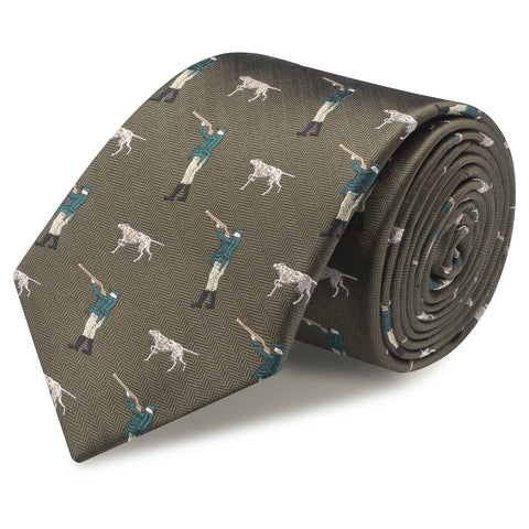 Country Green Herringbone Shooting Silk Tie