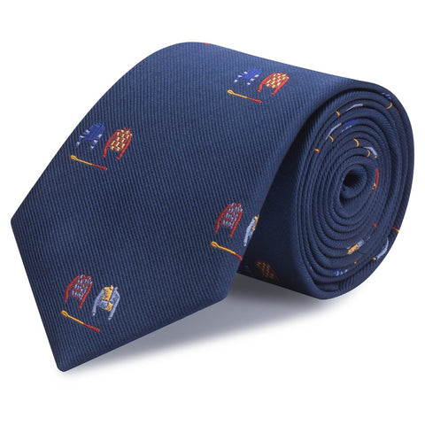 Jockey & Crop Navy Woven Silk Tie