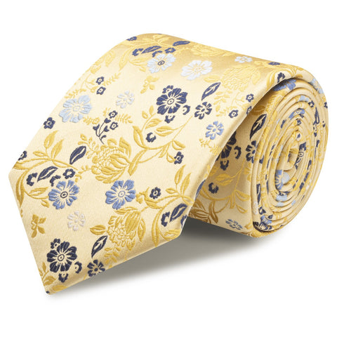 Gold Luxury Floral Woven Silk Tie