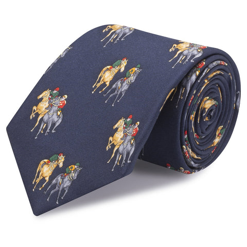 Navy Printed Horse Racing Silk Tie