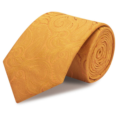 Burnt Orange Paisley Woven Silk Tie
