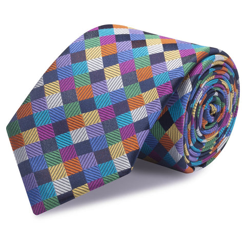 Multi Colour Check Luxury Woven Silk Tie
