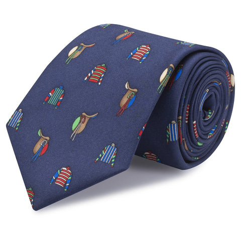 Jockey Jersey & Saddles Navy Printed Silk Tie