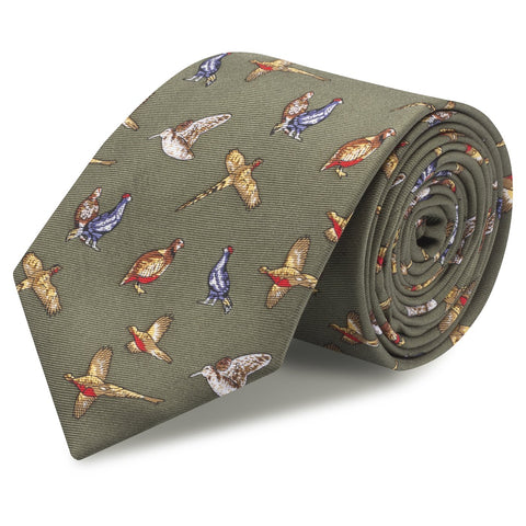 Green Printed Game Bird Luxury Silk Tie