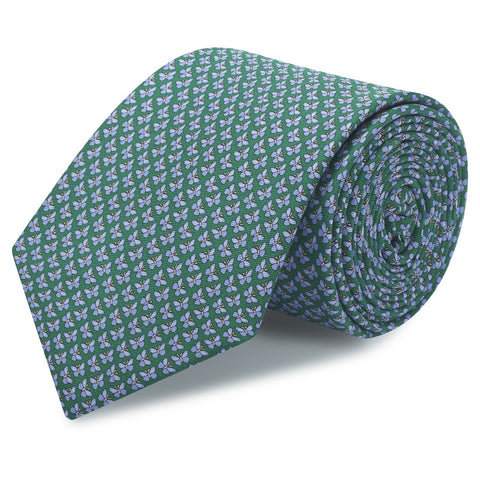 Green Butterfly Luxury Printed Silk Tie