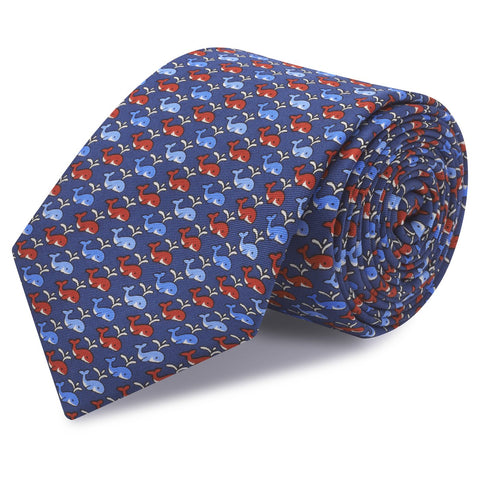 Blue Whales Luxury Printed Silk Tie