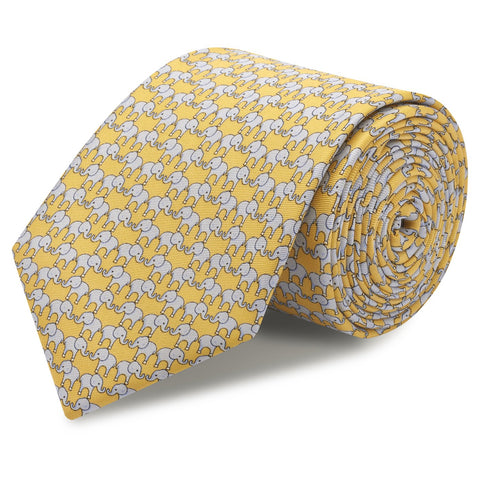 Yellow Elephant Luxury Printed Silk Tie
