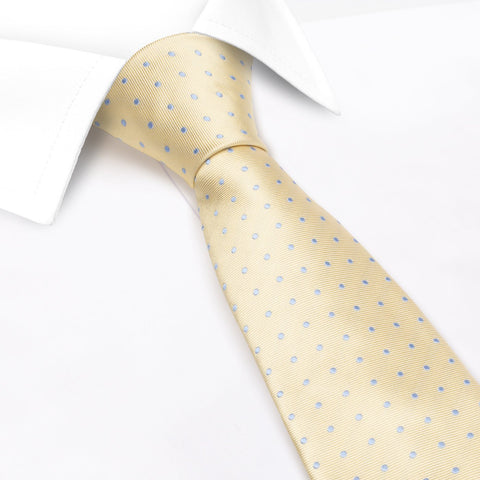Yellow & Blue Micro Spot Silk Tie