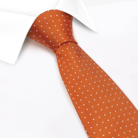 Burnt Orange Micro Spot Silk Tie