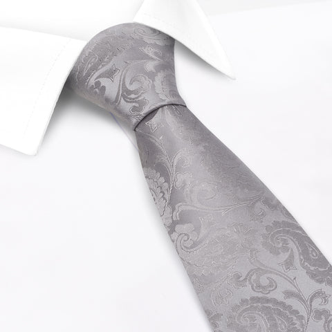 Classic Silver Paisley Silk Tie