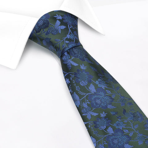 Green & Blue Luxury Floral Woven Silk Tie