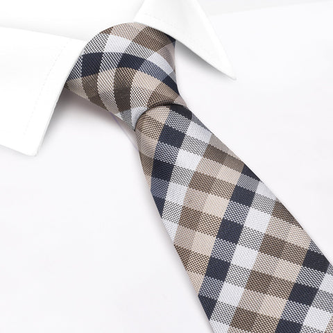 Brown & Beige Multi Check Luxury Silk Tie