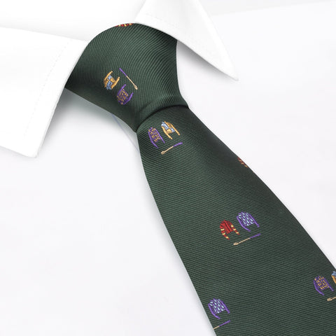 Jockey & Crop Green Woven Silk Tie