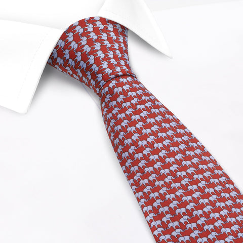 Red Elephant Luxury Printed Silk Tie