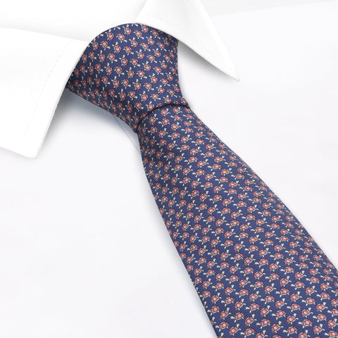 Navy Turtle Luxury Printed Silk Tie