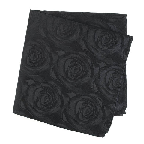 Black Rose Silk Handkerchief