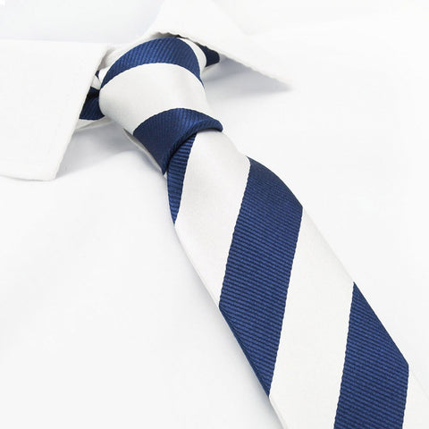 Silver & Navy Woven Striped Slim Silk Tie
