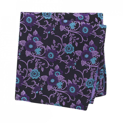 Purple Luxury Floral Silk Handkerchief