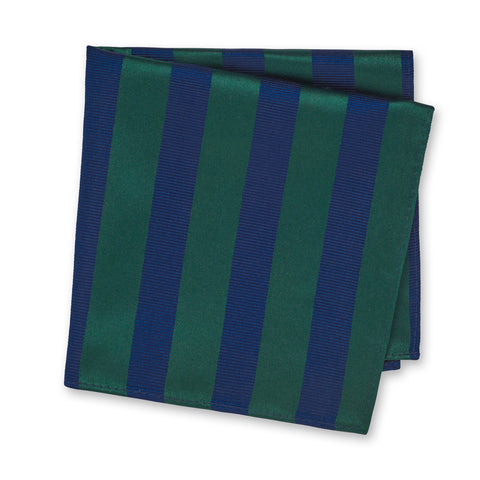 Dark Green & Navy Woven Striped Silk Handkerchief