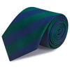 Dark Green & Navy Woven Striped Silk Tie