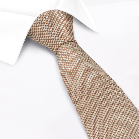Bronze & Cream Dogtooth Silk Tie