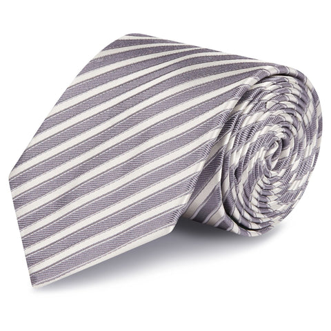 Grey & Silver Striped Woven Silk Tie