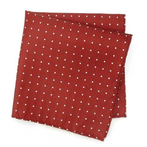 Red Polka Dot Woven Silk Handkerchief