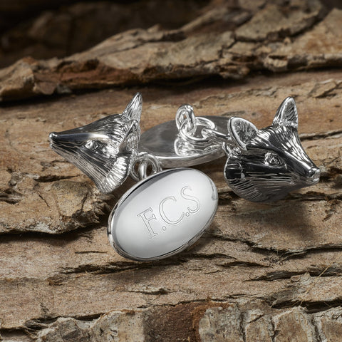 Silver Plated Fox Chain Cufflinks (Engraved)