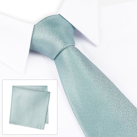 Pastel Mint Textured Woven Silk Tie & Handkerchief Set