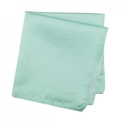 Plain Cyan Satin Silk Handkerchief