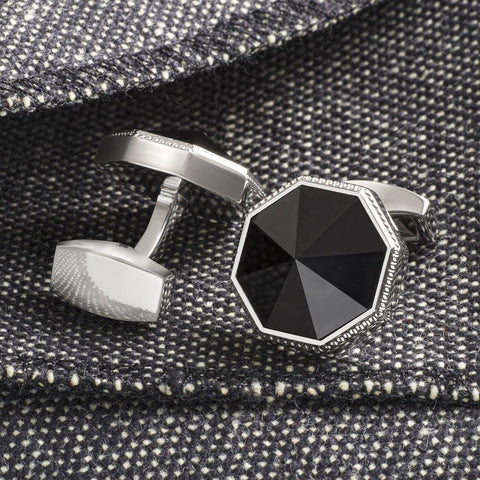 Black Eight Facet Cufflinks