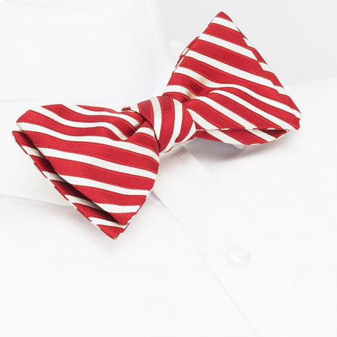 Self-Tie Red & Silver Striped Silk Bow Tie