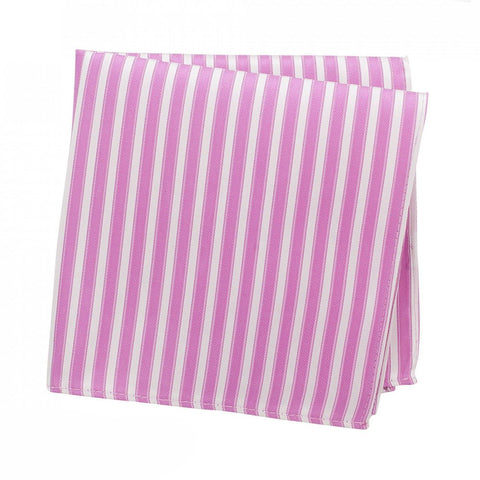 Pink & White Striped Woven Silk Handkerchief